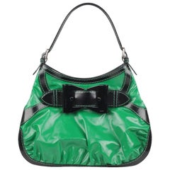 GUCCI Green and Black Dialux Coated Canvas Queen Hobo Bag