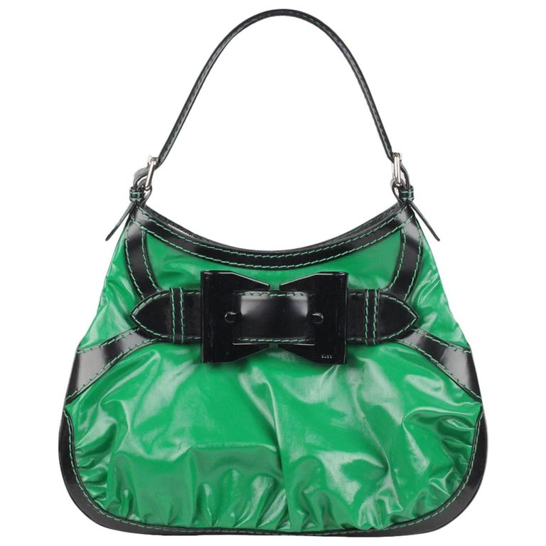 GUCCI Green and Black Dialux Coated Canvas Queen Hobo Bag For Sale ... 59646e70c04d