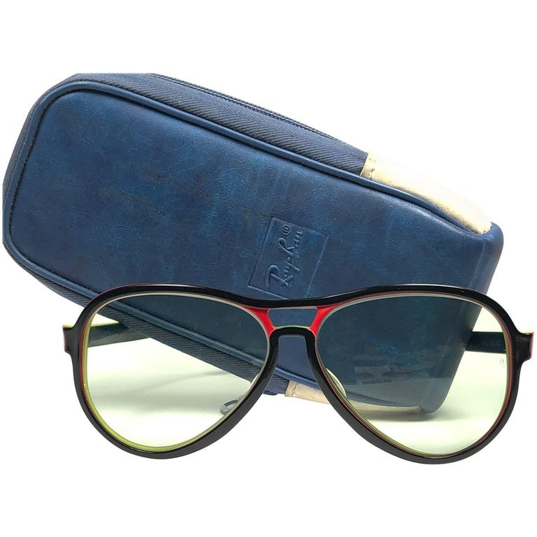 5a972db803 New Vintage Ray Ban B L Vagabond Rasta Changeable Green Lenses Sunglasses  USA For Sale