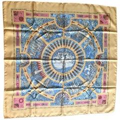 Vintage HERMES Carre silk scarf in yellow orange print. Le Songe de Poliphile.