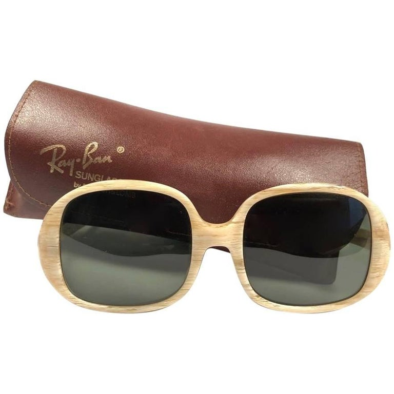 8b6f913555 New Vintage Ray Ban Kilaine Beige G15 Grey Lenses 1960 Sunglasses For Sale
