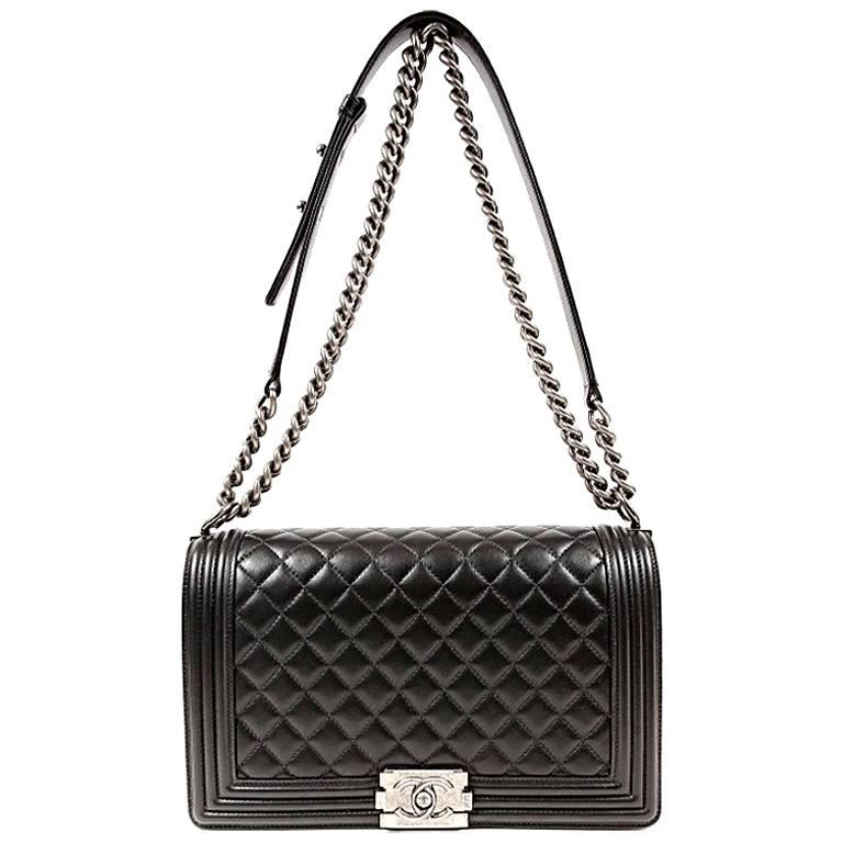 Chanel Black Lambskin Boy Bag- Large