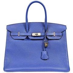 Hermes Blue Electric Togo 35 cm Birkin Bag with PHW