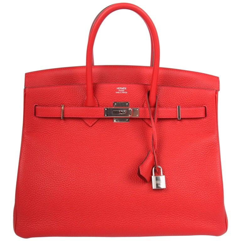 Hermes Birkin Bag 35 Taurillon Clemence Rouge Casaque - silvertone hardware 2017