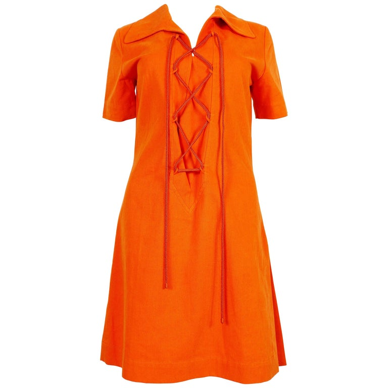 Yves Saint Laurent Rive Gauche YSL Vintage Orange Cotton Safari Dress