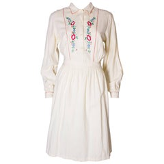 A Vintage 1970s floral embroidered cotton day dress by Miss Selfridge