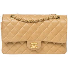 Shoulder bag Chanel Classic Double Flap in Beige leather