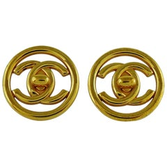 Chanel Vintage Gold Toned Turn Lock Clip-On Earrings Spring/Summer 1997