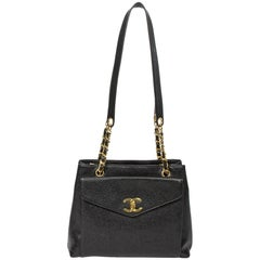 Shoulder bag Chanel Vintage Front Pocket Tote in black leather