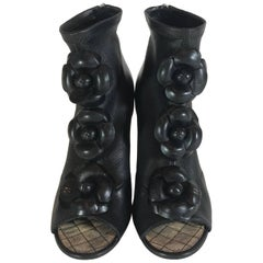 Chanel Black Leather Camellia Flower Wedge Ankle Boots