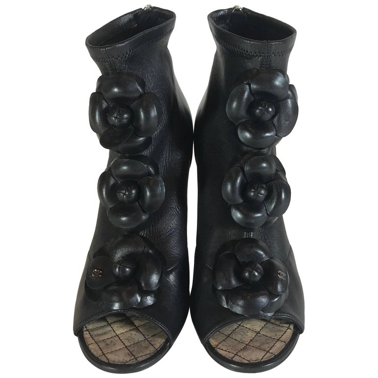b9c2c08b183 Chanel Black Leather Camellia Flower Wedge Ankle Boots For Sale at ...