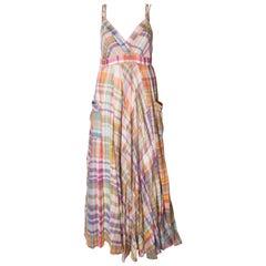 A Vintage 1970s Check Cotton long Bohemian summer Dress