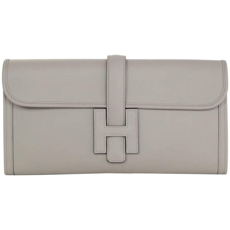 Hermes Grey Swift Leather Jige Elan 29 H Clutch Bag, 2017