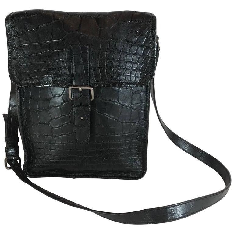 Prada Black Crocodile Crossbody Bag