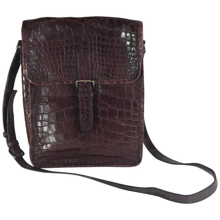 cc74c03b0047 Prada Maroon Crocodile CrossBody Bag For Sale at 1stdibs