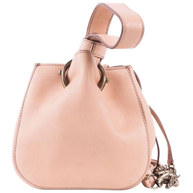 Roberto Cavalli Womens Small Beige Leather Tassel Wristlet Bucket Bag