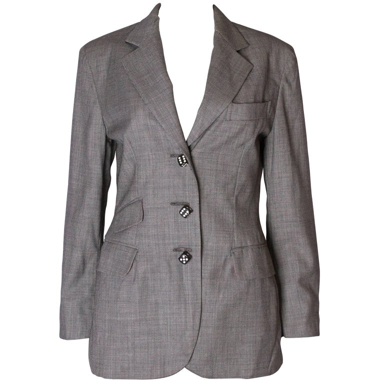 A Vintage 1990s grey button up dice button detail jacket by Moschino Couture
