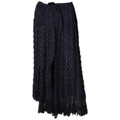 A Vintage 1990s dark navy long ruffle summer skirt by Romeo Gigli