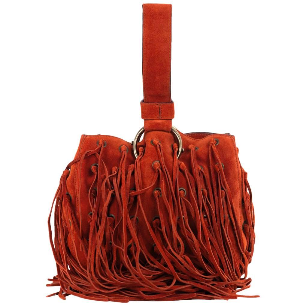 Roberto Cavalli Bright Orange Suede Eyelet Fringe Wristlet Bucket Bag PRGcWXR7