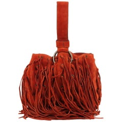 Roberto Cavalli Bright Orange Suede Eyelet Fringe Wristlet Bucket Bag