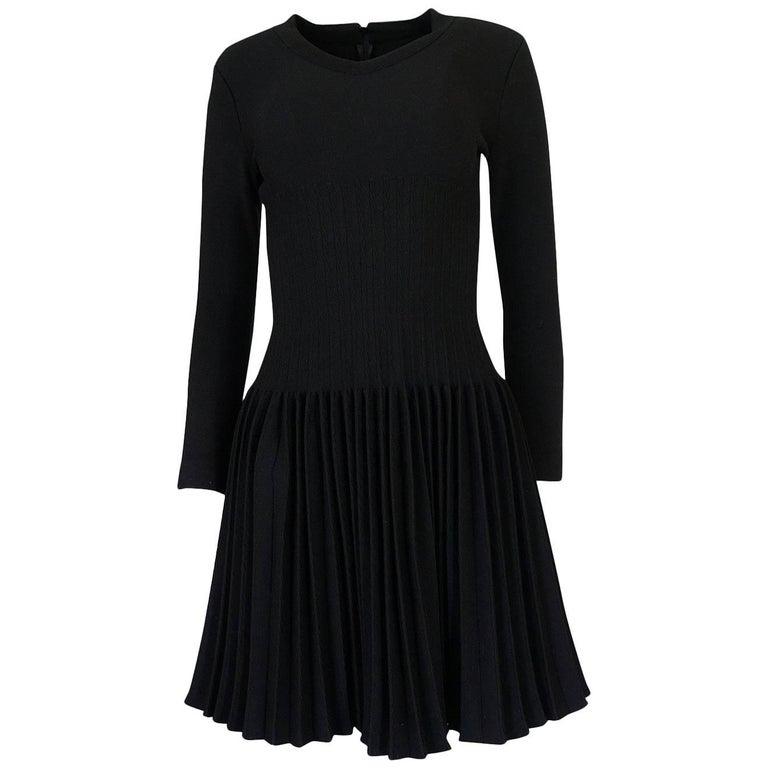 Vintage Azzedine Alaia Stretch Bandage Knit And Pleated Skirt Dress