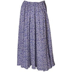 A Vintage 1970s Blue Floral printed Silk summer Skirt