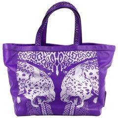 Roberto Cavalli Purple Leather Tiger Cheetah Print Tote Bag