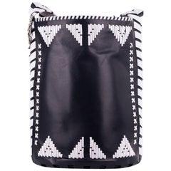 Roberto Cavalli Black Leather White Accent Shoulder Bucket Bag