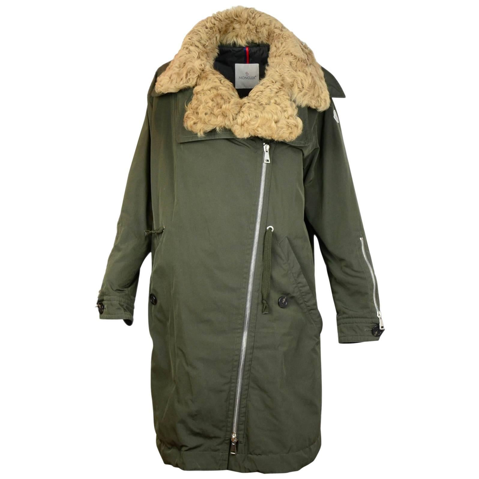 Moncler Olive Green Aucuba Shearling & Twill Oversized Down Coat ...