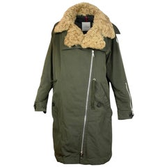 Moncler Olive Green Aucuba Shearling & Twill Oversized Down Coat sz 4