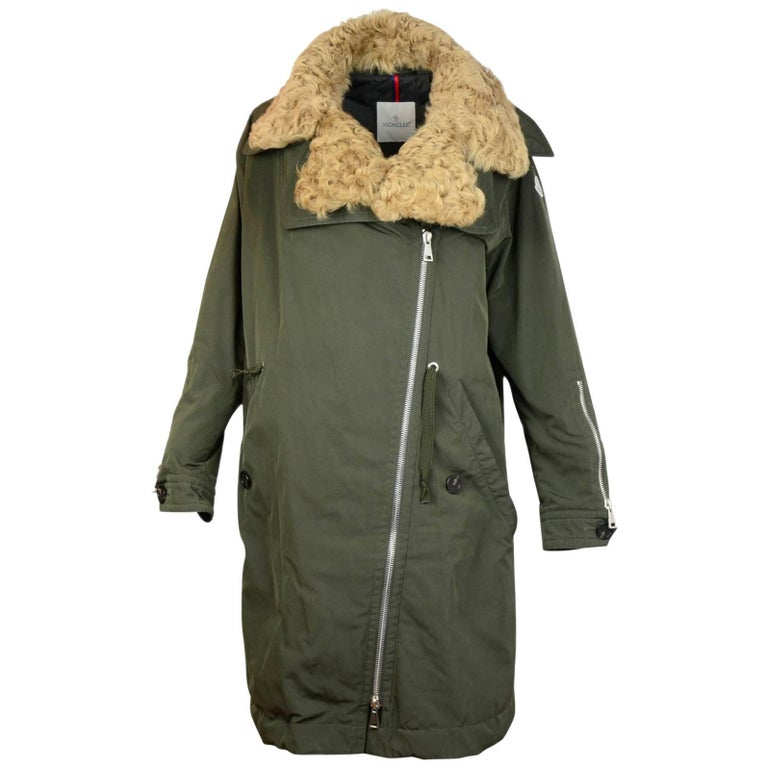 Moncler Olive Green Aucuba Shearling & Twill Oversized Down Coat sz 4 For Sale