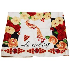 Must De Cartier red and yellow roses silk scarf, late 90s
