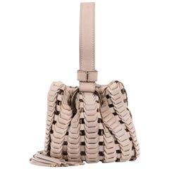 Roberto Cavalli Cream Mini Leather Tassel Bucket Bag