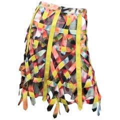 Zac Posen Multicolor Silk Cage Skirt