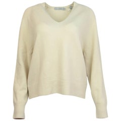 Vince Ivory Cashmere V-Neck Sweater Sz M NWT