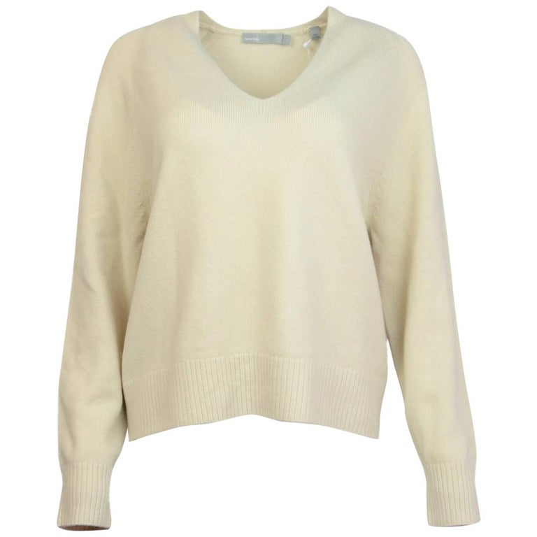 Vince Ivory Cashmere V Neck Sweater Sz M Nwt For Sale At