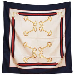 Gucci blue and ivory silk scarf, 80s
