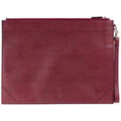 Roberto Cavalli Red Solid Pebbled Leather Large Clutch
