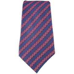 Men's HERMES Navy & Red Diagonal Twist Stripe Silk Tie
