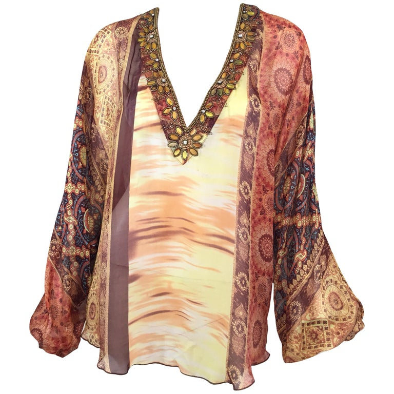 9c6442f8f95 Dolce and Gabbana Silk Beaded Blouse For Sale at 1stdibs