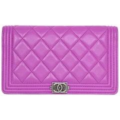 Chanel Fuschia Lambskin Leather Boy Yen Wallet