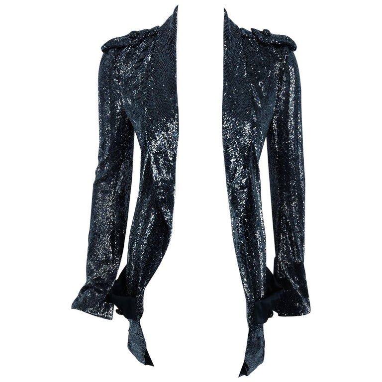 2005 Balenciaga Runway Couture Lesage Beaded Black Sculpted Tuxedo Blazer Jacket