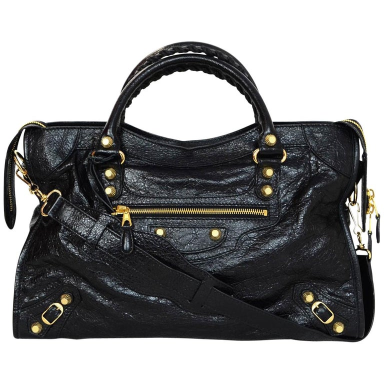 d2d5350a3b51 Balenciaga Black Distressed Leather Giant 12 City Moto Satchel Bag For Sale  at 1stdibs