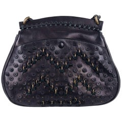 Roberto Cavalli Black Leather Eyelet Fringe Wristlet Tote Bag