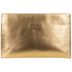 Roberto Cavalli Solid Gold Metallic Grained Leather Zip Clutch