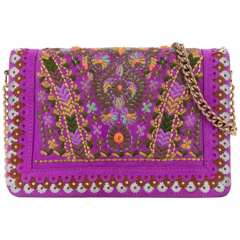 Roberto Cavalli Violet Purple Suede Embroidered Floral Shoulder Bag