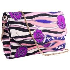 Roberto Cavalli Multicolor Pink Satin Floral Clutch Shoulder Bag