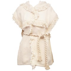 Isabel Marant Cotton Crochet Short Sleeve Fringed Sweater, Spring 2015