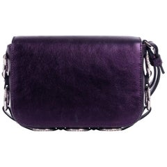 Roberto Cavalli Solid Purple Metallic Embellished Chain Wristlet Clutch