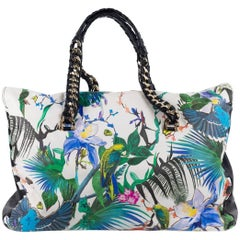 Roberto Cavalli Multicolor Leather Tropical Floral Large Tote Bag